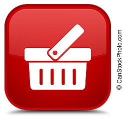 Shopping cart icon special red square button