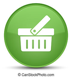 Shopping cart icon special soft green round button
