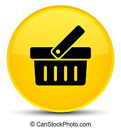 Shopping cart icon special yellow round button