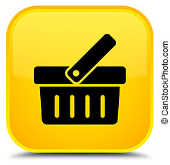 Shopping cart icon special yellow square button