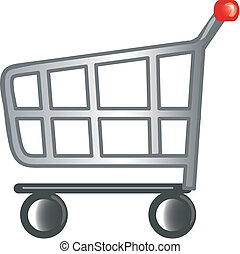Shopping cart icon - Stylized shopping cart icon or symbol.