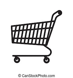 Shopping cart icon, vector isolated on white background