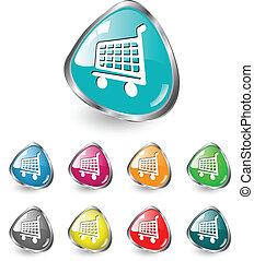 Shopping cart icon vector set
