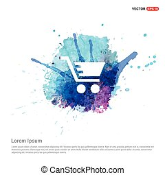Shopping Cart icon - Watercolor Background