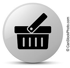 Shopping cart icon white round button