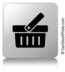 Shopping cart icon white square button