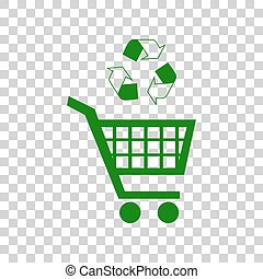 Shopping cart icon with a recycle sign Dark green icon on transparent background.
