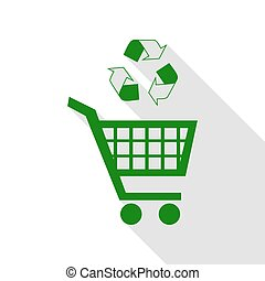 Shopping cart icon with a recycle sign Green icon with flat style shadow path.