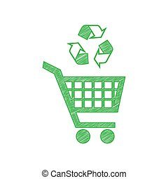 Shopping cart icon with a recycle sign. Green scribble Icon with solid contour on white background. Illustration.