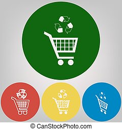 Shopping cart icon with a recycle sign. Vector. 4 white styles of icon at 4 colored circles on light gray background.