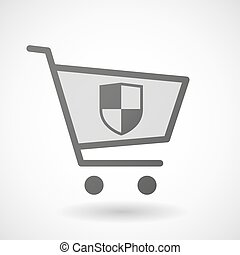 Shopping cart icon with a shield