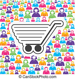 shopping cart icon with in people