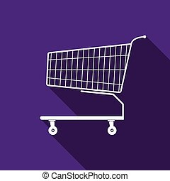 Shopping cart icon with long shadow. Vector illustration