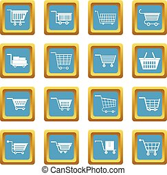 Shopping cart icons azure