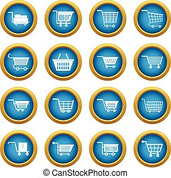 Shopping cart icons blue circle set