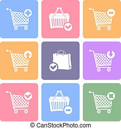 Shopping cart icons, flat design vector