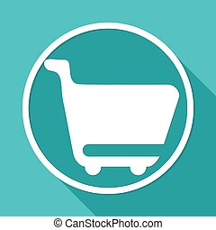 shopping cart icons on white circle with a long shadow