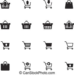 Shopping cart icons set