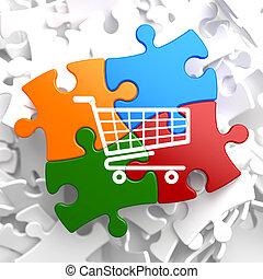 shopping cart, ikon, på, multicolor, puzzle.