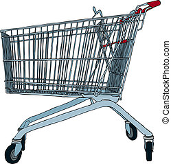 Shopping cart - Hand drawn vector illustration of empty...