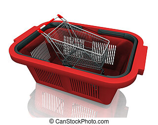 Shopping cart in a plastic basket
