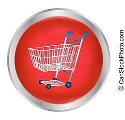 Shopping cart in a red button