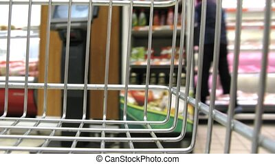 shopping cart in shop - Shopping cart in shop