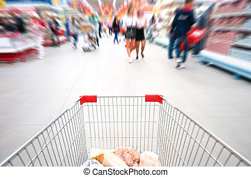 Shopping cart in supermarket
