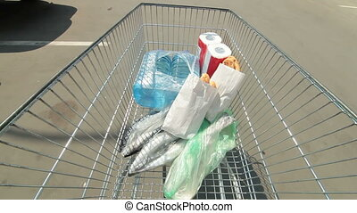 Shopping cart in the parking lot - Customer use the shopping...