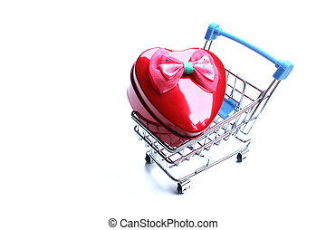shopping cart is inside the heart. On a white background, ...