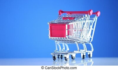 Shopping Cart Isolated On Blue - Shopping cart