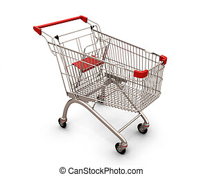 Shopping cart isolated on white background. 3d illustration.