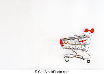 shopping cart isolated on white background, side view