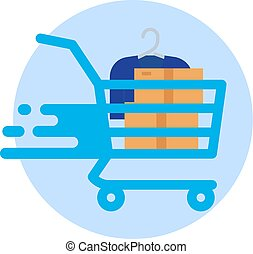 Shopping cart isolated on white background. Vector Flat Icon