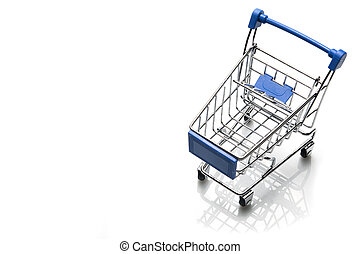 Shopping cart isolated top view