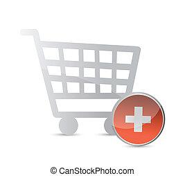 shopping, cart., linea fare spese, concept.