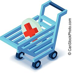 Shopping cart medicine sign icon, isometric style
