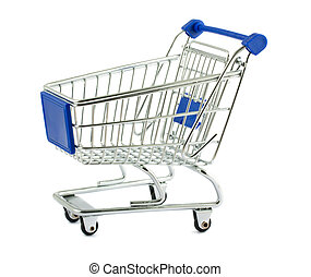 Shopping cart - Metal shopping cart isolated on white...