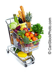 Shopping cart. - Metal shopping cart with grocery items. ...