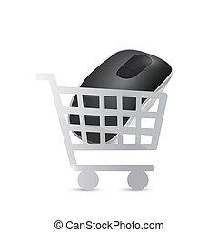 shopping cart mouse illustration design