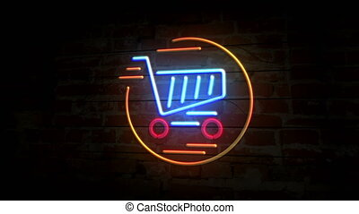 Shopping cart neon symbol on brick wall. Light bulbs with online market, sale, shop, commercial, business and store. Loopable and seamless animation.