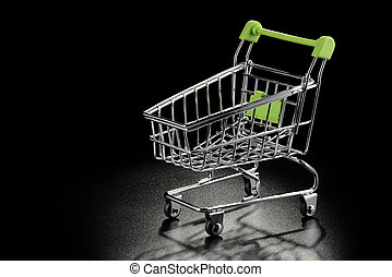 Shopping cart on a black background