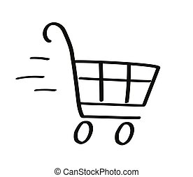 Shopping cart on a white background.