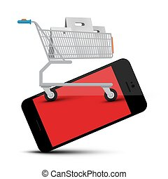Shopping Cart on Mobile Phone Vector Web Application Symbol Isolated on White Background