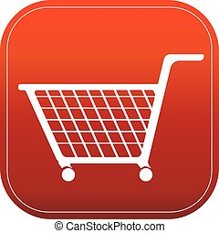 shopping cart on red button vector