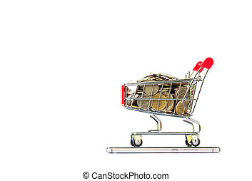 shopping cart on smartphone on white background