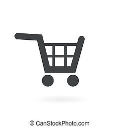 Shopping cart on white background , Vector.