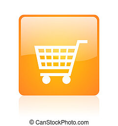 shopping cart orange square glossy web icon