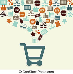 shopping cart over white background vector illustration