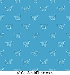 Shopping cart pattern vector seamless blue